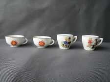 Set of 4 antique cups of dinette ceramic decor children french antique