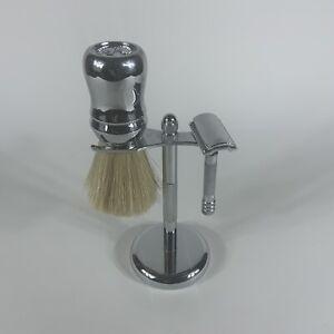 Vintage lot shaving brush omega 48 (italy) Merkur razor (germany) w/ stand