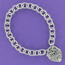 Filigree Heart Link Bracelet Sterling Silver 925 Love Open Cut Safety Chain