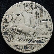 1908 REGNO ITALIA 2 LIRE KM #46 RE VEIII RARA!