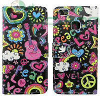Custodia FLIP cover Peace & Love per Huawei P9 Lite case stand brillantini