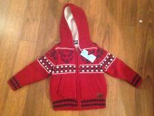 Animal Full Zip Knitted Wheelblast Hoodie Lined Cardigan Red 3-4 Years