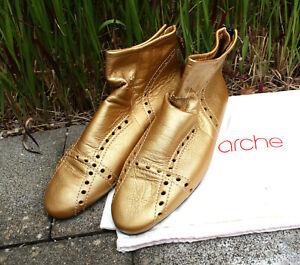 Arche Damen Schuhe Gr. 39 gold metallic Leder gelocht Stiefelette Sommer Stiefel