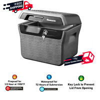 0.66 cu ft Fire-Resistant File Box Safe & Waterproof Carry Handle W/ Key Lock