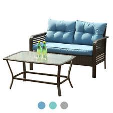 2 PCS Outdoor Patio Furniture Rattan Sofa Wicker Chair W/ Cushions Table Set