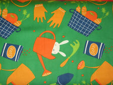 "David Walker's ""Garden"" Tools and Bunnies in green, 1 yard"