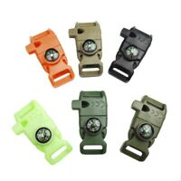 New Side Release Whistle Buckle Compass Flint Fire Starter For Paracord Bracelet