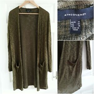 Primark Olive Green Long Cardigan Size 14 Open Front Thin Knit Pockets Casual