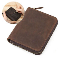 DIY Man Genuine Leather Wallet Zipper Card Coin Cash Purse Vintage Pocket Gift