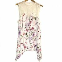 TORRID 2 Plus Size Ivory Floral Lace Crepe Tank Sleeveless Cream Pink Purple 2X