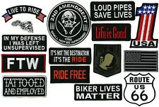 FTW Live to Ride #1 Flag Skull Pow Mia Harley Club Motorcycle Patches 15pc. Set