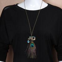 Gorgeous Blue Eye Vintage Retro Rhinestone Peacock Long Feather Pendant Necklace