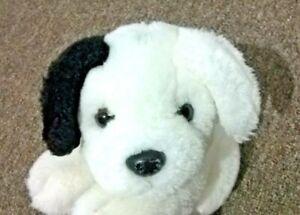 "Vintage Aurora White Puppy Dog Plush 9"" Soft Toy Black Spots Ear Dalmatian 22cm"