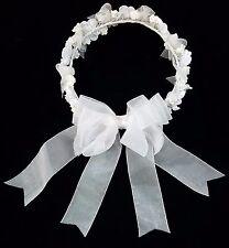 NEW Kids #0940 White ceramic flower Rhinestone Tulle Ribbon Holy Communion Veil