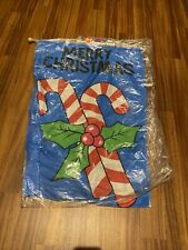 """CANDY CANE 40"""" X 28"""" CHRISTMAS FLAG WITH WOODEN POLE NIP"""