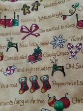 NEW COTTON CHRISTMAS FABRIC STOCKINGS TREES LIGHTS MEASURES 44