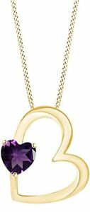 Simulated Amethyst Heart Shape Pendant Nceklace in 14K Gold Over Silver