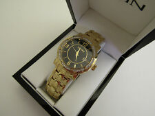 "ELGIN MEN""S STAINLESS STEEL GOLD WATCH WITH SWOROVSKI CRYSTALS FG4989"