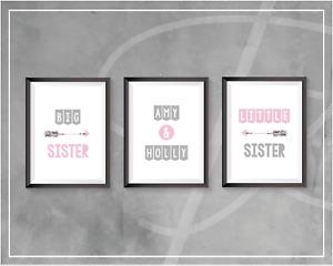 Girls Bedroom Personalised Prints Wall Art Sisters Pink Grey Children's Bedroom