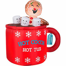 CHRISTMAS SANTA GINGERBREAD MAN IN CUP OF COCOA  AIRBLOWN INFLATABLE DECORATION