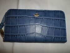 "Brahmin ""Suri Denim Savannah"" Blue Checkbook Leather Zip Wallet NWT"