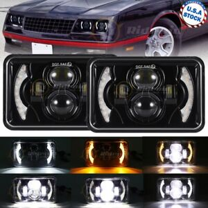 "2x 4x6"" DRL Hi-Lo Projector LED Headlight 120W For Chevy Mercury Plym Pontiac"