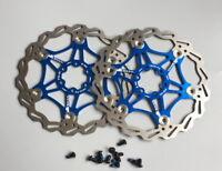 2x SNAIL MTB Mountain bike Brake Disc Floating Rotor 160/180/203mm Rotors Blue