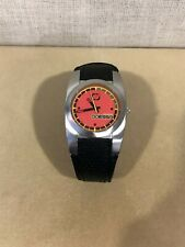 ODESSA Men's/Boys Skater Sports Black Leather Orange/Red Face Watch Sharp Look