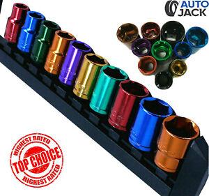 "Autojack 1/2"" Drive Metric Socket Set 10 Pc Multi Coloured with Rail 13 - 24mm"