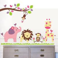 Jungle Animals Giraffe Lion Monkey Elephant Wall Stickers Nursery Kid Room Decor