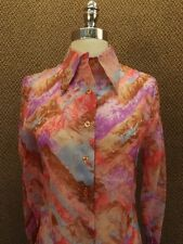 Vtg 60s New NOS Cool Art Op Artsy Watercolor Geometric Nylon Chiffon Shirt Sz S