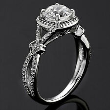 Halo 1.55 Carat Round Cut Natural Diamond Engagement Solitaire Ring White Gold