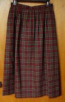 Pendleton USA Vintage Burgundy & Green Plaid Pleated Lined Wool Skirt, Size 8
