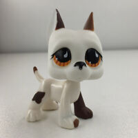 Littlest Pet Shop RARE Great Dane Dog Puppy #750 White Chocolate Brown Eyes LPS
