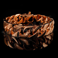 18K Rose Gold 15.5mm Stainless Steel MEN Womens Miami Chain CUBAN Link Bracelet