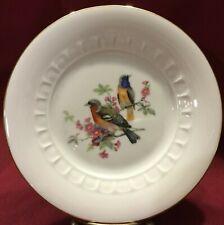 "VTG JWK Josef Kuba Porcelain 7 5/8"" Gold Rim Bird Plate Rare Gold Beehive Mark D"