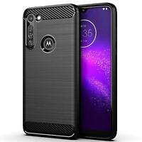 Etui Gel Silicone Housse Coque Noir Fibre Carbone Pour Motorola Moto G8 Power