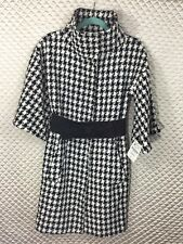 NWT Zara Audrey Houndstooth Swing Coat with Bow Belt Size M