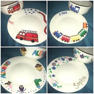 Personalised, handpainted bowl & plate set - Cartoon Characters, Fairies, Sport