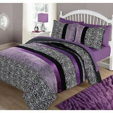 Zebra Animal Print Bedding Comforter Set Full Queen Purple Striped Reversible