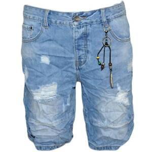 Pantoloni corti short uomo bermuda in denim jeans blu chiaro con microstrappi fr