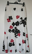 KALIKO UK8 EU36 WHITE 100% LINEN AND FULLY LINED SKIRT WITH FLORAL PATTERNING