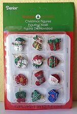 "Miniature Dollhouse Mini CHRISTMAS Tree ~ 12 Asst 1"" Sparkle Ornaments w Snowman"