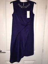 Karen Millen Navy Blue Sheen Beaded Neck Party Dress size 12 NEW RRP £215