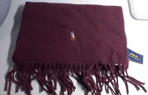 POLO RALPH LAUREN 100% WOOL SCARF (RED)