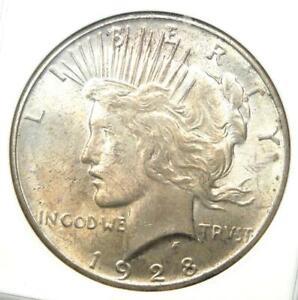 1928 Peace Silver Dollar $1 (1928-P) - Certified ANACS MS61 (BU UNC) - Rare!