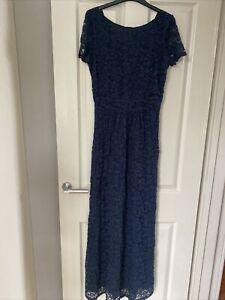 Next Size 10 Uk Used Long Navy Blue Lace Cap Sleeve Dress halloween