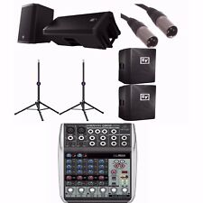 EV ZLX12P Powered Speakers + Q802USB 8-CH Mixer+ Ultimate Stands TS-90B +Covers