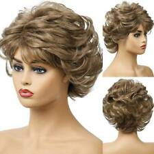 Womens Brown Wig Short Ombre Hair With Bangs Full Synthetic Party Cosplay Wigs