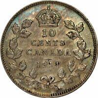 1914 Canada 10 Cents Silver -Very Nice High Grade Circ Collector Coin! -d464uxnt